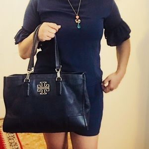 Tory Burch Bags - Tory Burch Large Black Leather Tote Bag w Gold